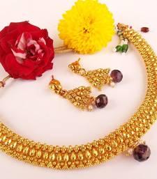 Buy Awesome Purple Metallic Necklace Set necklace-set online