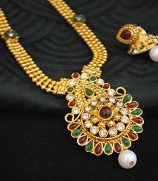 Buy Multicolour Stone Studded Short Necklace set south-indian-jewellery online