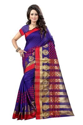 Purple printed tussar silk saree with blouse