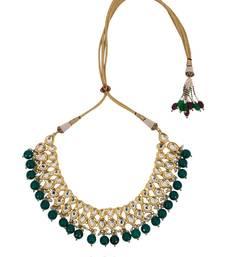 Buy Kundan Teardrop Choker with Green semi precious onyx stones Necklace online