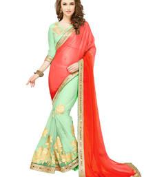 Buy Orange embroidered art silk saree with blouse heavy-work-saree online