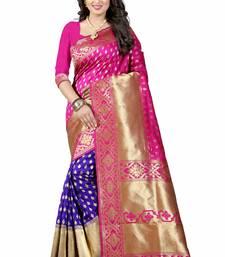 Buy Pink hand woven cotton silk saree with blouse handloom-saree online