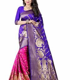 Buy Navy blue hand woven cotton silk saree with blouse patola-sari online