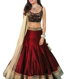Maroon embroidered dupion silk unstitched lehenga shop online