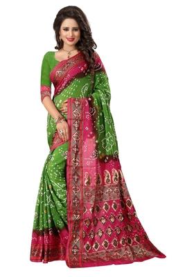 Light green printed bhagalpuri silk saree with blouse