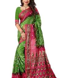 Buy Light green printed bhagalpuri silk saree with blouse Woman online