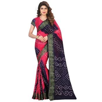 Pink printed bhagalpuri silk saree with blouse