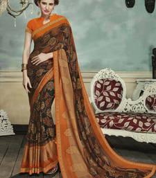 Buy Black printed brasso saree with blouse printed-saree online