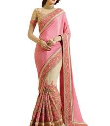 Buy Pink embroidered chiffon saree with blouse chiffon-saree online