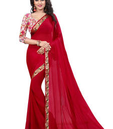 Buy Red woven chiffon saree with blouse ethnic-saree online