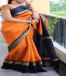 Buy Orange printed bhagalpuri saree with blouse bhagalpuri-silk-saree online