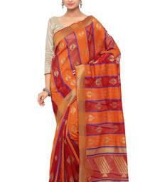 Buy Orange woven organza saree with blouse organza-saree online