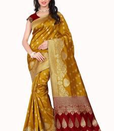 Buy Yellow printed banarasi silk saree with blouse jacquard-saree online