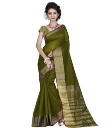 Buy green plain bhagalpuri silk saree with blouse bhagalpuri-silk-saree online