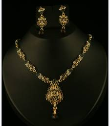 Buy Purple and Green Gold austrian Stone necklace-sets Woman online