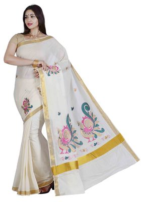 Off white embroidered cotton saree with blouse