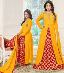 Buy Yellow embroidered cotton silk salwar anarkali-salwar-kameez online