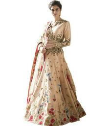 Buy cream embroidered silk lehenga with dupatta ghagra-choli online