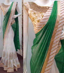 Buy Dark green embroidered art silk saree with blouse fashion-deal online