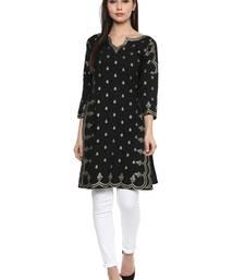 Buy Black stitched Crepe  stitched kurti long-kurti online