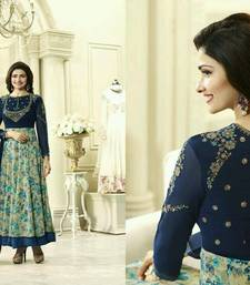 Buy Blue embroidered georgette semi stitched salwar with dupatta (Best Quality) anarkali-salwar-kameez online