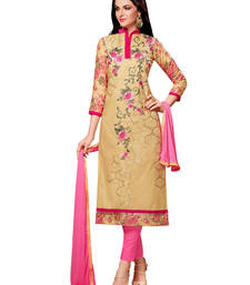 Buy Beige embroidered cotton semi stitched salwar with dupatta ready-to-ship-salwar-kameez online