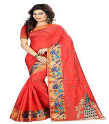 Buy Dark orange embroidered chanderi art silk saree with blouse chanderi-saree online