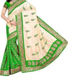 Buy Green printed bhagalpuri saree with blouse bhagalpuri-silk-saree online