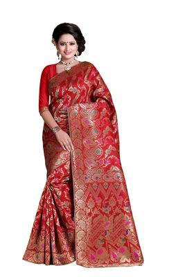 red hand woven banarasi saree with blouse