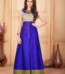 Buy Royal blue embroidered silk party-wear-kurtis party-wear-kurtis online