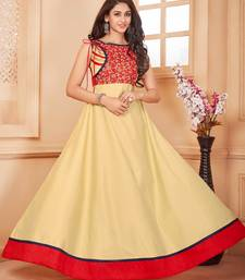Buy Beige embroidered silk party-wear-kurtis party-wear-kurti online