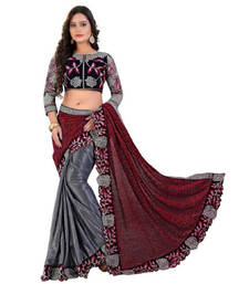 Buy Red and grey embroidered lycra saree with blouse designer-embroidered-saree online