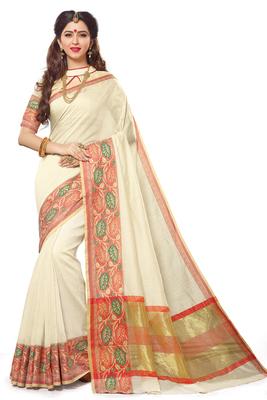 Off white maheshwari saree with blouse