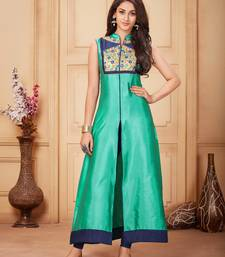 Buy Cyan embroidered silk party-wear-kurtis party-wear-kurtis online
