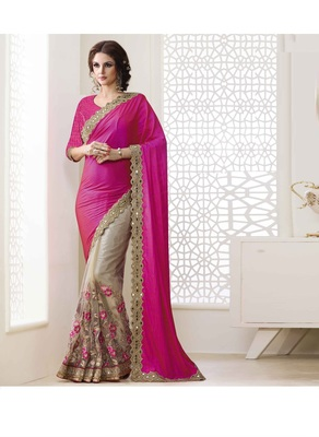 Dark baby pink embroidered nylon saree with blouse