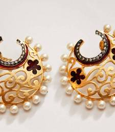 Buy Half Hoop Embellished Filigree Earrings - Red danglers-drop online