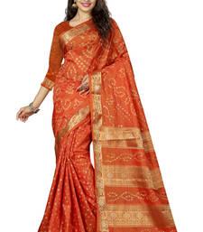 Buy Orange hand woven art silk sarees saree with blouse art-silk-saree online
