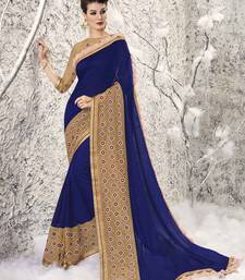 Buy navy blue embroidered chiffon saree with blouse eid-saree online
