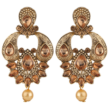 Brown Antique Gold Plated Traditional Dangle & Drop Earrings for Girls and Women