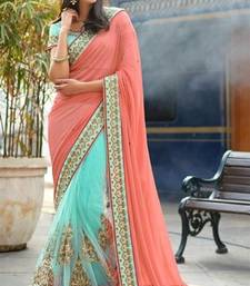 Buy Orange embroidered Georgette saree with blouse  (Best Quality) georgette-saree online