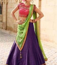 Buy Purple embroidery banglori silk lehenga with dupatta ghagra-choli online