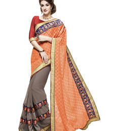 Buy Orange embroidered faux georgette saree with blouse diwali-sarees-collection online