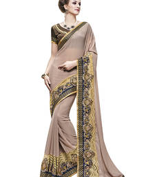 Buy Off white embroidered faux georgette saree with blouse diwali-sarees-collection online