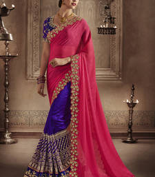 Buy Dark rani pink embroidered chiffon saree with blouse eid-saree online
