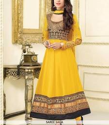 Buy Yellow embroidred georgettte semi stitched salwar with dupatta fashion-deal online