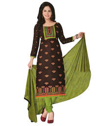 Buy brown embroidered cotton unstitched salwar with dupatta dress-material online