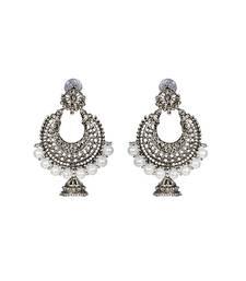 Buy Silver Chandbali Jhumka Pearl Earrings fashion-deal online