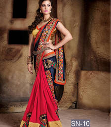 Buy Multicolor embroidered georgette saree with blouse bengali-saree online