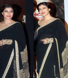 Buy Black embroidered georgette saree with blouse kajol-saree online