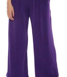 Buy Purple plain lycra fabric free size palazzo pants palazzo-pant online